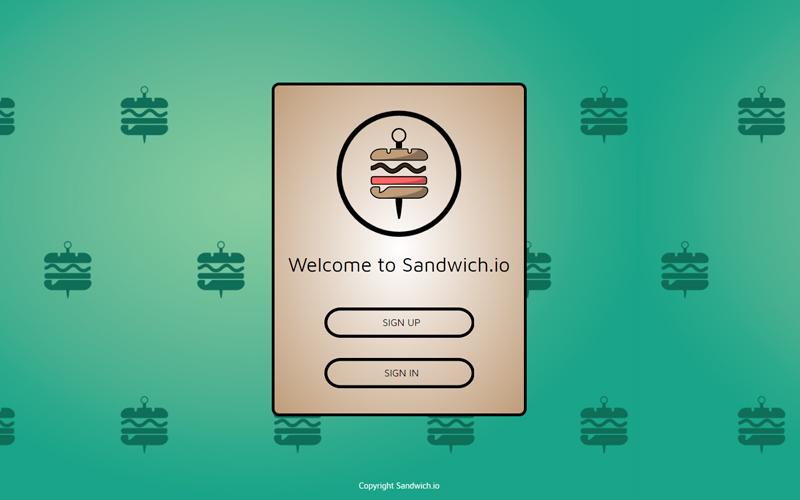 Sandwich.io Login page | Monika Szucs