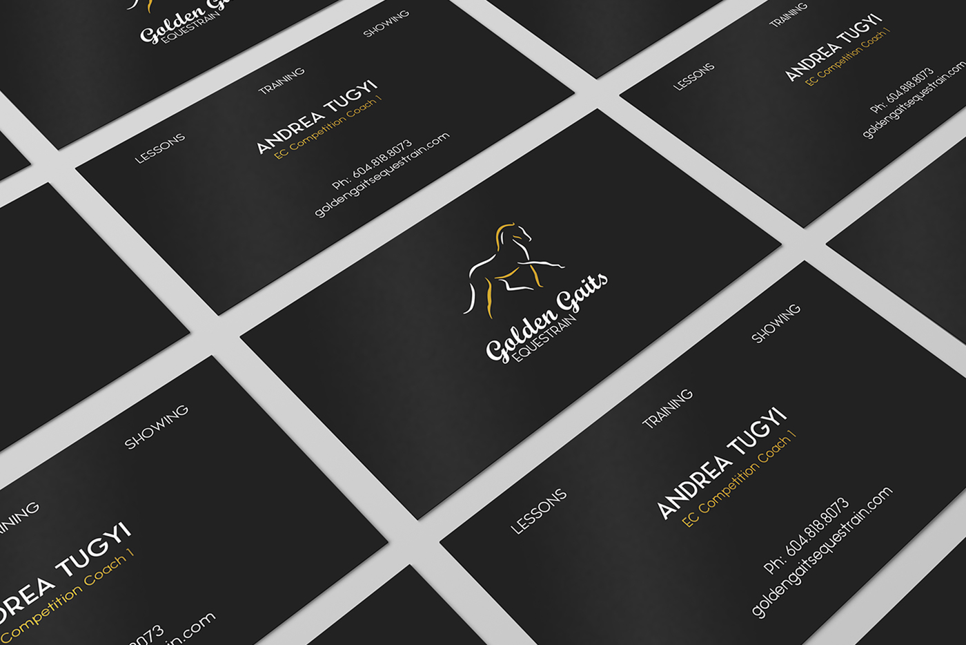 Golden Gaits Equestrain business card design | Monika Szucs