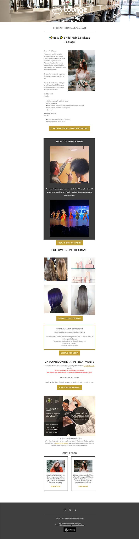 Bridal Hair Lounage Hair Studio Newsletter Mailchimps Vancouver created with Legendary Social Media created by Feifei Digital Ltd| Monika Szucs