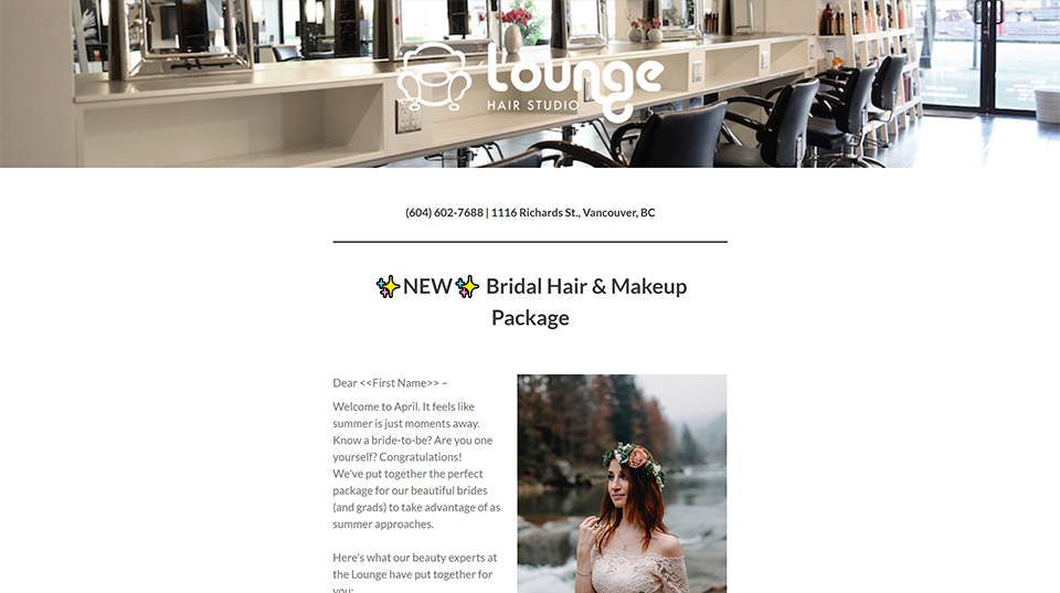 Bridal Hair Lounage Hair Studio Newsletter Mailchimps Vancouver created with Legendary Social Media | Monika Szucs
