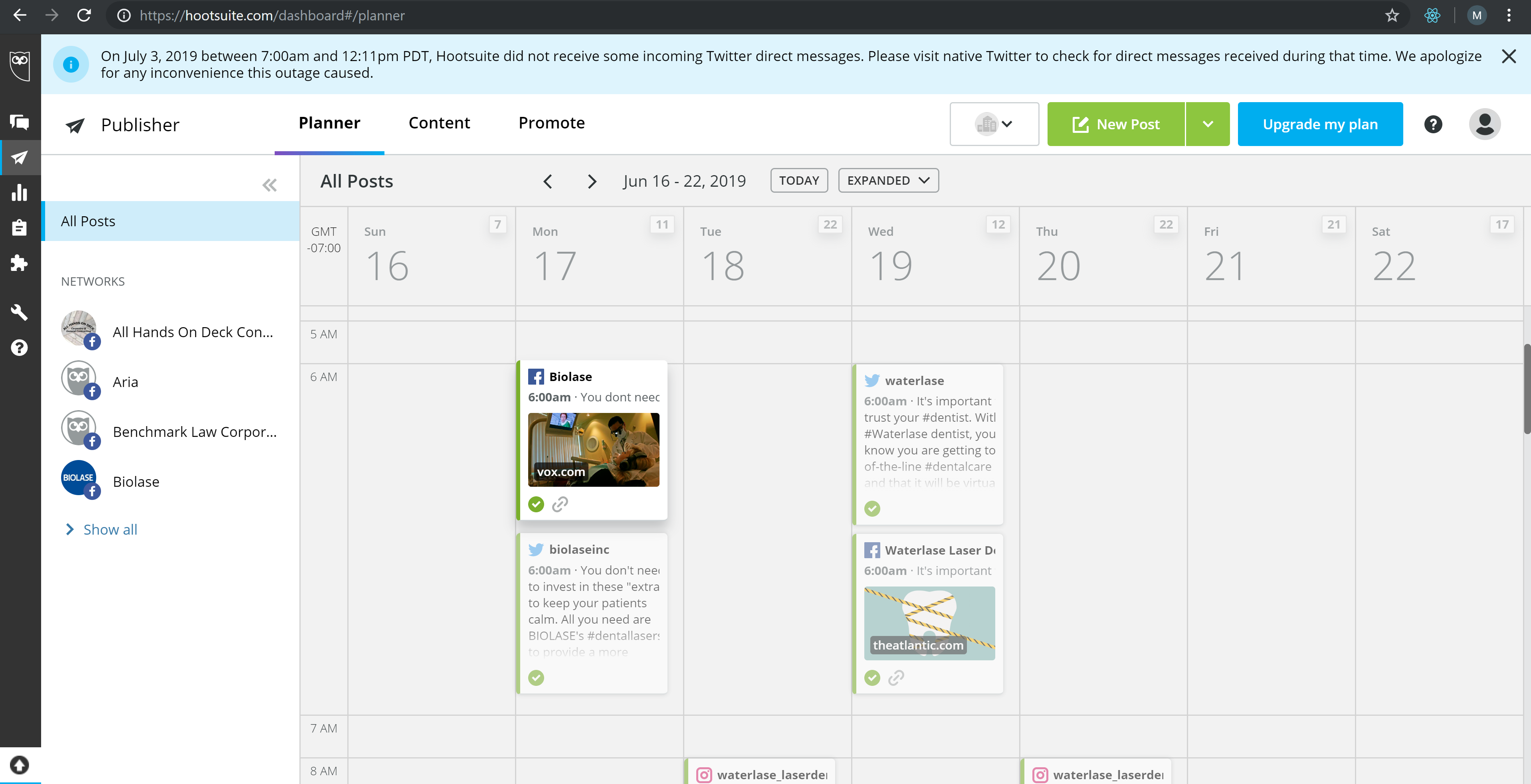 Biolase USA scheduling using Hootsuite for Facebook and Twitter under Legendary Social Media contracted by Feifei Digital Ltd | Monika Szucs