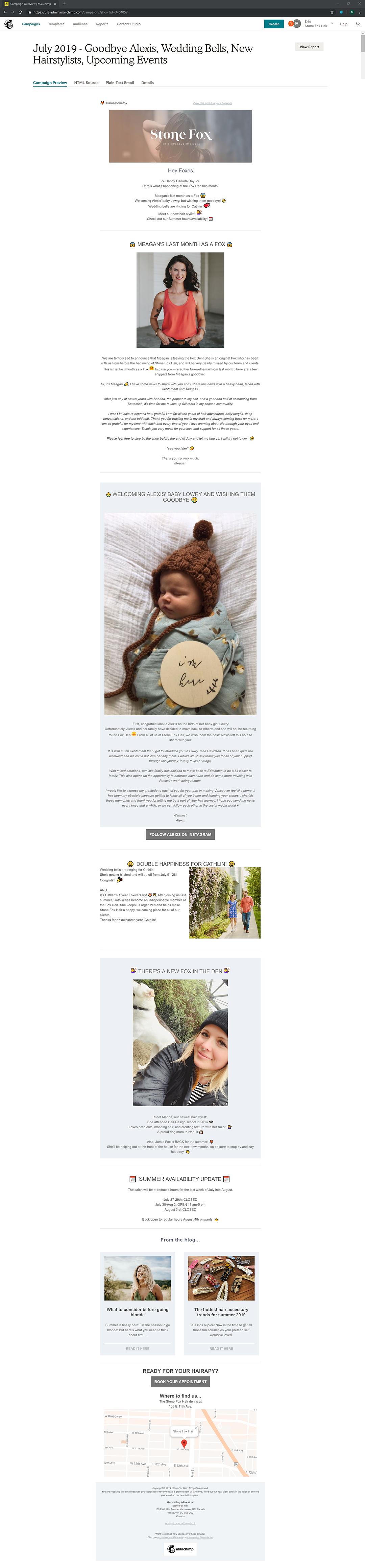 Wedding Bells containers Stone Fox Hair Studio Newsletter Mailchimps Vancouver created with Legendary Social Media created by Feifei Digital Ltd | Monika Szucs