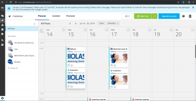 Biolase USA scheduling using Hootsuite for Facebook and Twitter under Legendary Social Media contracted by Feifei Digital Ltd   Monika Szucs