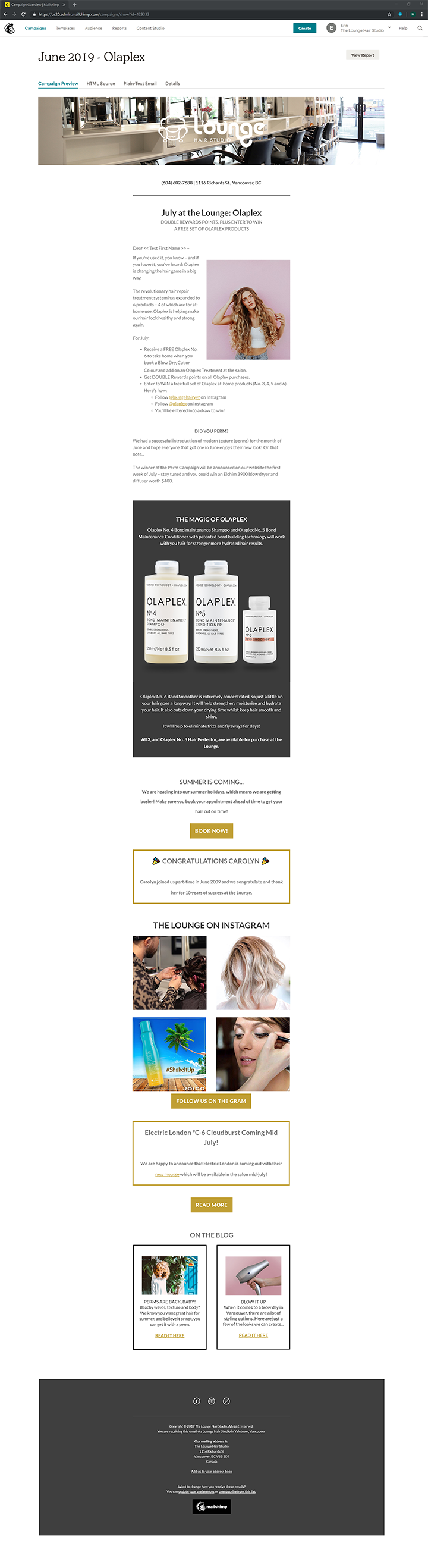Olaplex Lounage Hair Studio Newsletter Mailchimps Vancouver created with Legendary Social Media created by Feifei Digital Ltd| Monika Szucs