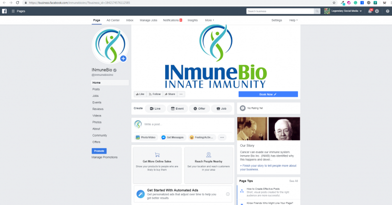 Facebook Clinical Immune System killer cells cancer INmuneBio under Legendary Social Media in Vancouver and contracted by Feifei Digital Ltd Agency | Monika Szucs