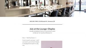 Olaplex Lounage Hair Studio Newsletter Mailchimps Vancouver created with Legendary Social Media created by Feifei Digital Ltd| Monika Szucs