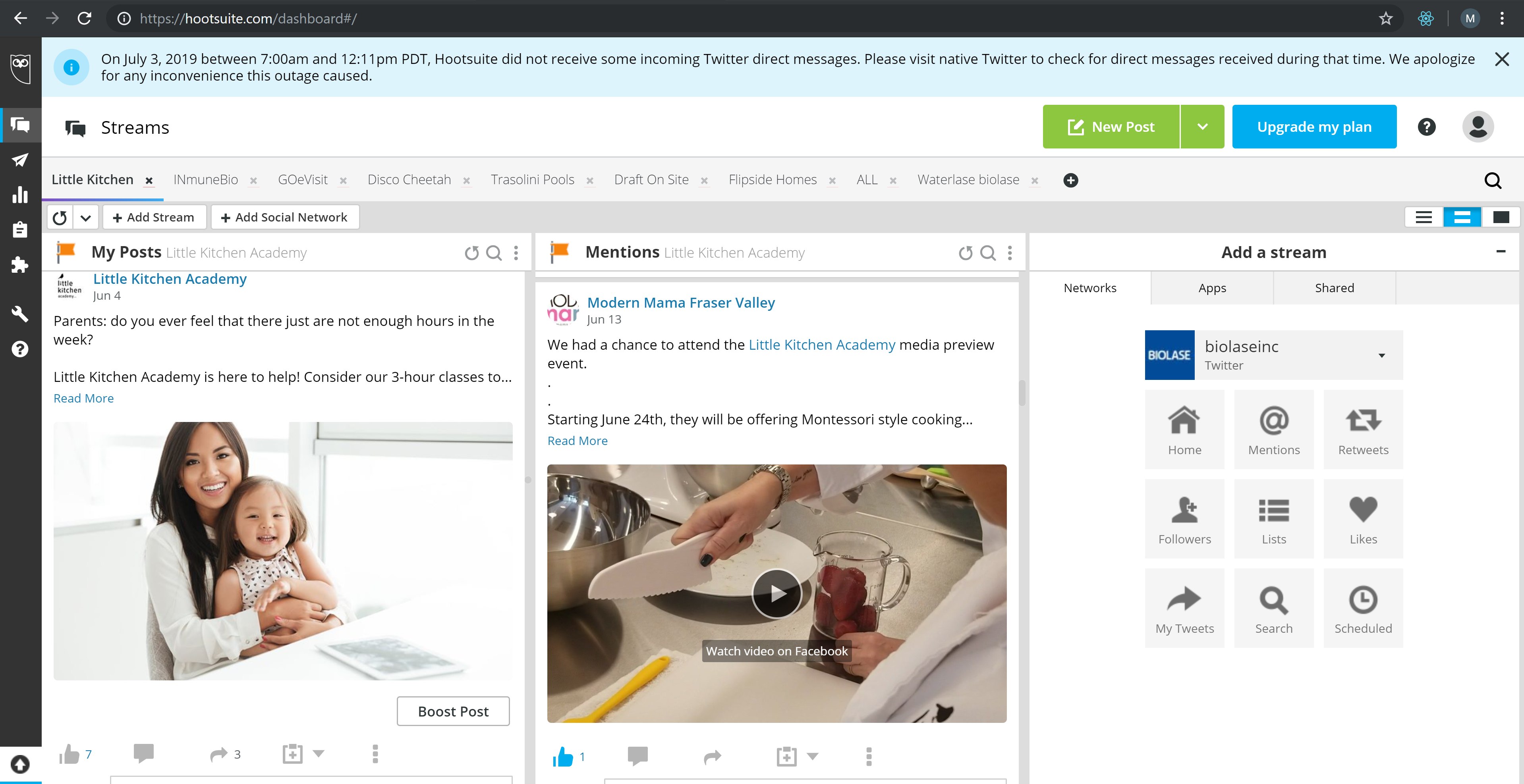 Little Kitchen Academy Hootsuite Children cooking school Vancouver under Legendary Social Media contracted Feifei Digital Ltd | Monika Szucs