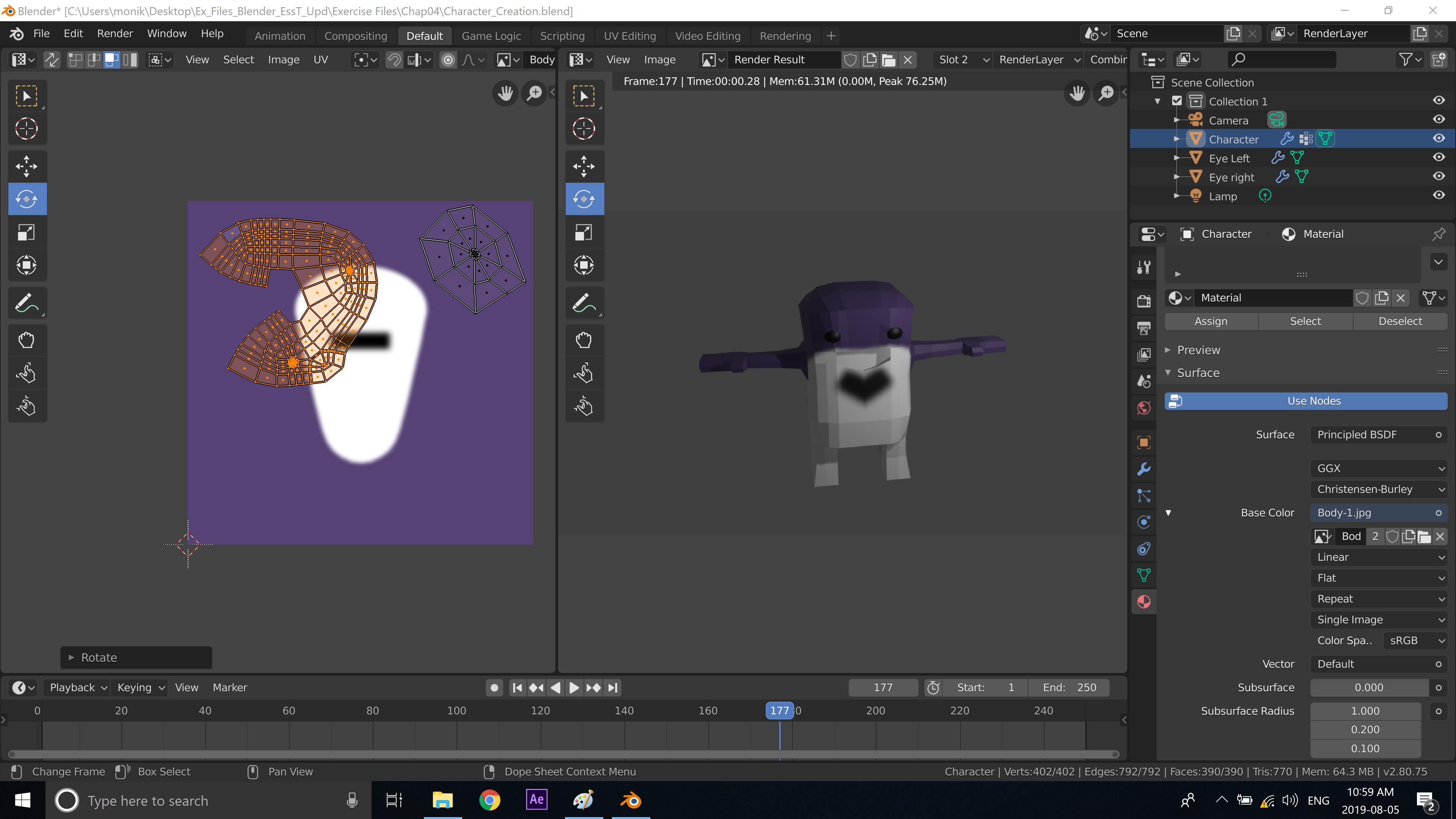 UV Mapping Blender 3D Character creation under Feifei Digital Ltd   Monika Szucs