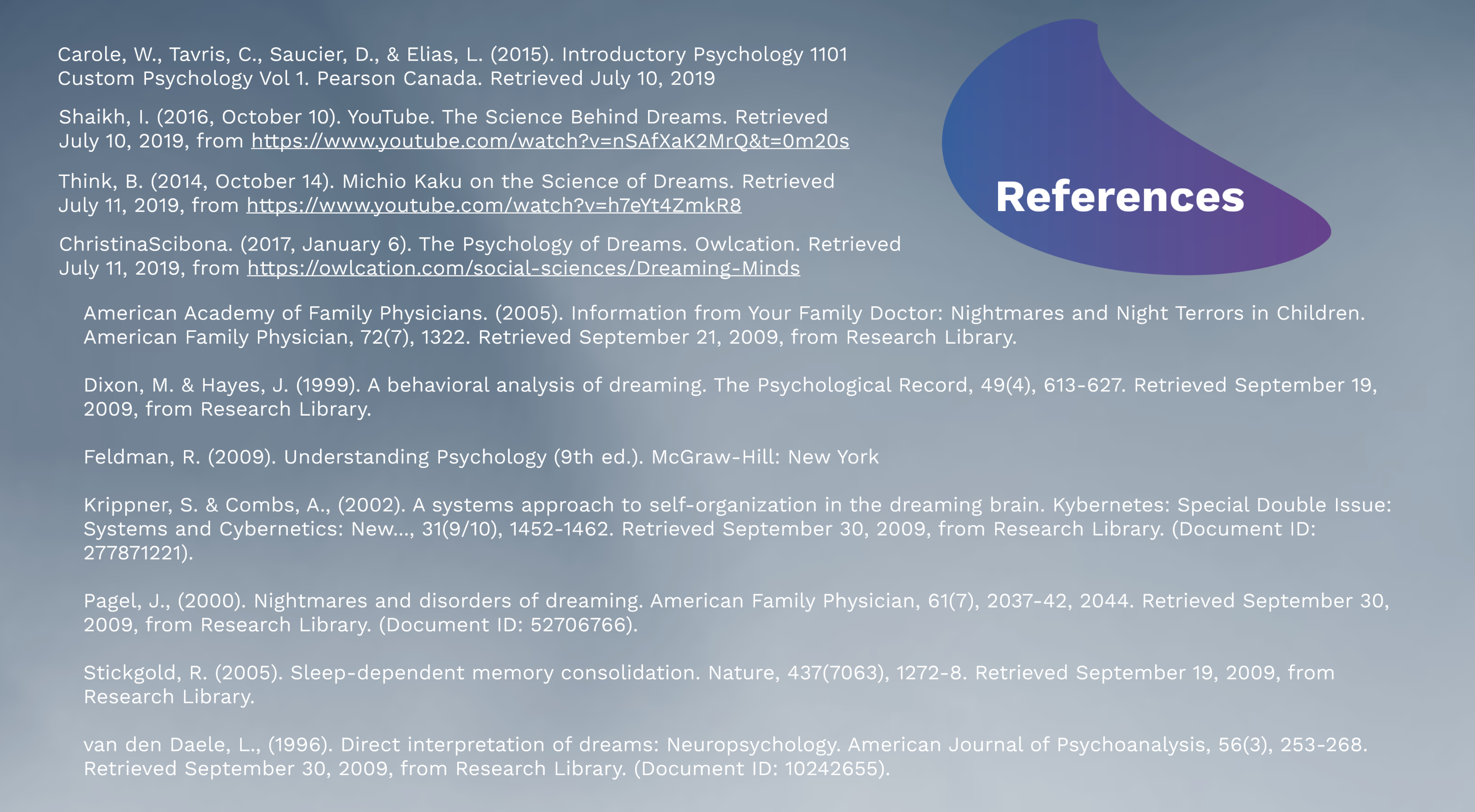 Dreams Psychology Prezi Presentation for BCIT Psyc 1101 | Monika Szucs