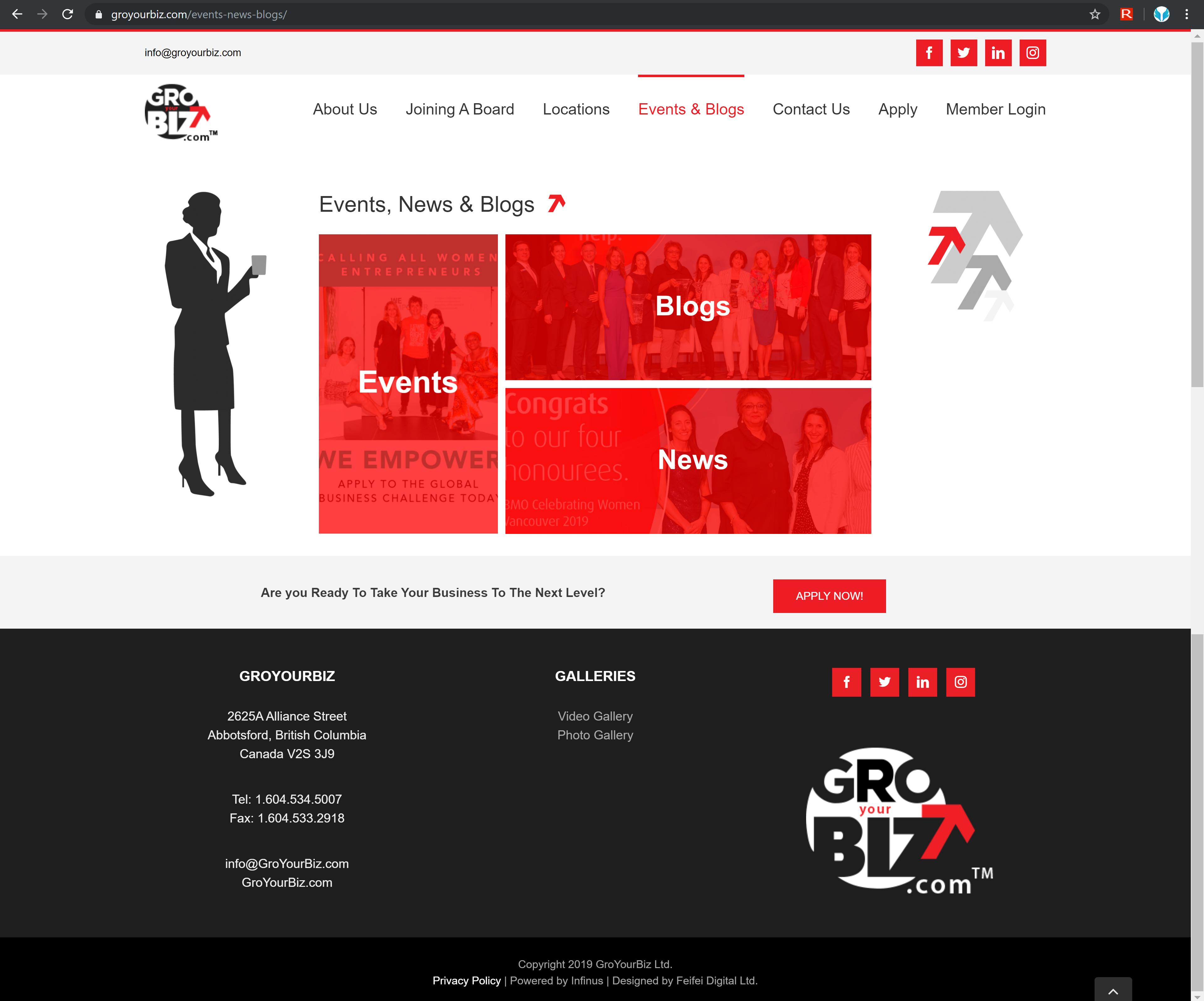 GroYourBiz Events, Blogs, and News Page | User Interface and Front End Development | Feifei Digital | Monika Szucs