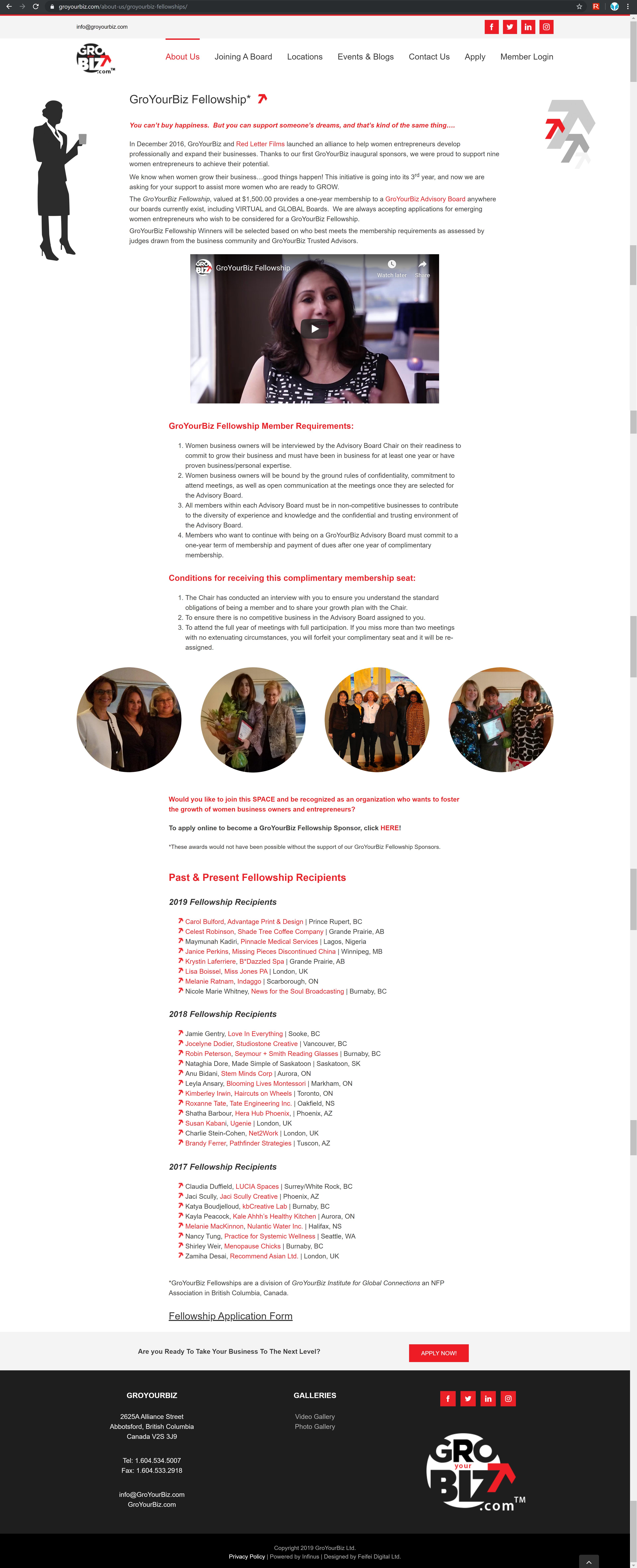 GroYourBiz Fellowships Page | User Interface and Front End Development | Feifei Digital | Monika Szucs