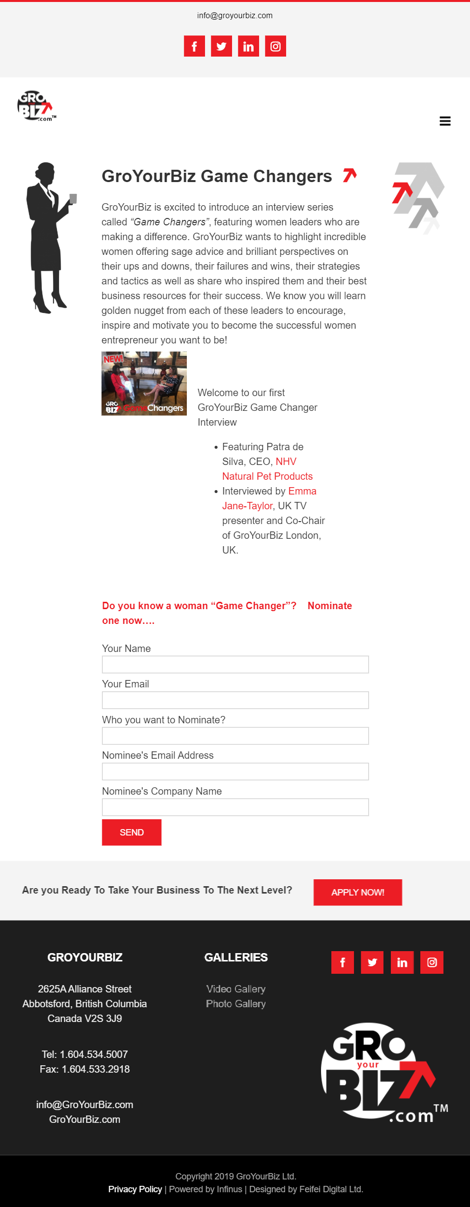 GroYourBiz Game Changers Page | User Interface and Front End Development | Feifei Digital | Monika Szucs