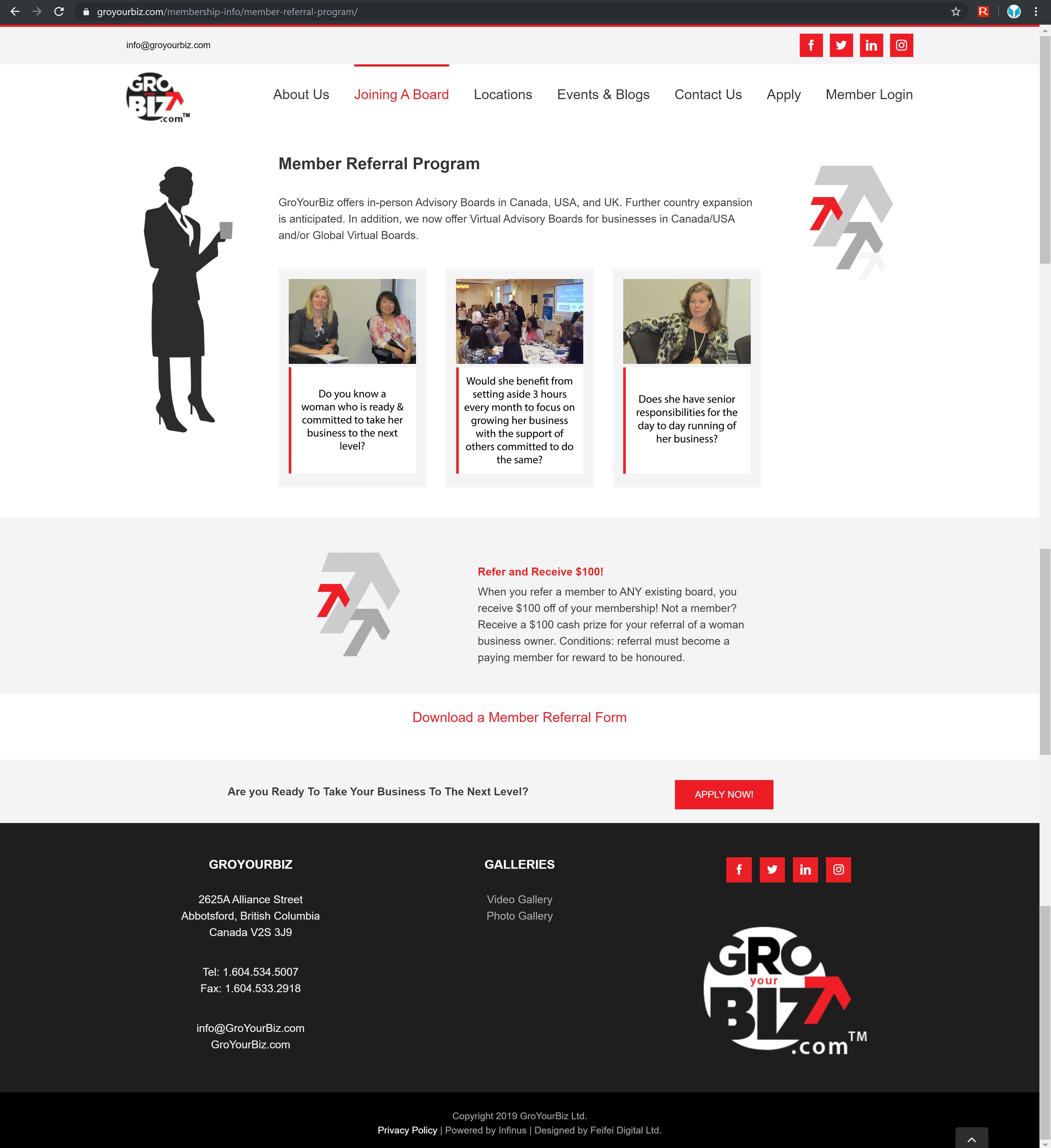 GroYourBiz Member Referral Program Page | User Interface and Front End Development | Feifei Digital | Monika Szucs