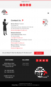 GroYourBiz Contact Us Page | User Interface and Front End Development | Feifei Digital | Monika Szucs